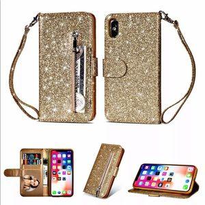 Accessories - Cute Gold Glitter Wallet Phone Case!